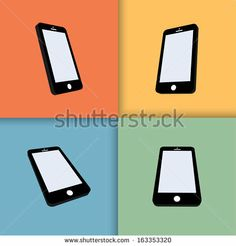 3d mobile phones with blank screens in color. vector eps10 - stock vector