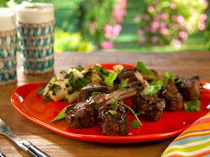 Spice Rubbed Lamb Chops Hoisin and with Grilled Bok Choy Salad recipe from Bobby Flay via Food Network