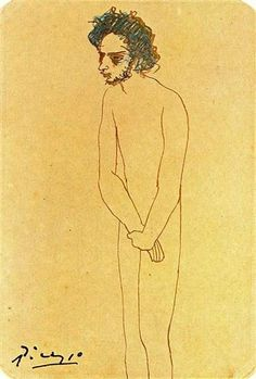 Portrait of nude Casagemas, 1904 by Pablo Picasso, Rose Period. sketch and study Pablo Picasso Drawings, Picasso Portraits, Trinidad, Picasso Blue, Expressionist Artists, Art Walk, State Art, Art Techniques, Les Oeuvres