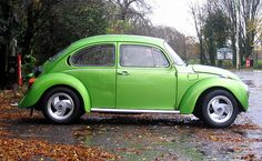 Green Volkswagen Beetle. My first Bug was this color...its called Hippie Green Metalic. She was a 75 Super Belle La Grande and started my love affair with Beetles