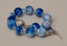 Blue Turquoise and White Marbled Beaded Bracelet with Silver Plated Toggle Clasp.  12mm Vintage Italian Lucite Beads. 7.5 inch bracelet.