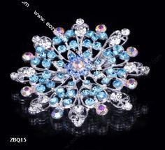 6.5x6.5cm Blue Shining Fancy Flower Jewelry Beauty Crystal Rhinestone Pin Brooch