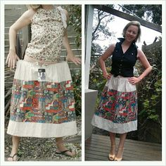 Tribal skirt refashion / restyle / refit