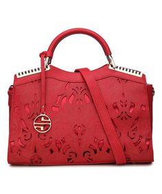 Love this Red Damask Cutout Satchel by Segolene Paris on #zulily! #zulilyfinds