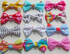 Set of 3 Newborn, Baby Girl, Toddler Fabric Hair Bows, Girlie Glue or Alligator Clips, Stick On Hair Bows