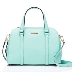 "🎀Kate Spade purse Authentic Kate Spade Small Felix. Gorgeous ""Tiffany Blue"" color (grace blue). True color is most like the last 2 photos. Can be carried  (drop length 4.1"") or worn as a crossbody. (Removable strap apx. 47"".) Leather. Apx measurements- 11""w x 8.5"" h x 4.5"" d. 14k light gold plated hardware. 2 interior slide pockets and one zippered pocket. NWT. Any negotiations should go through the offer button only. NO TRADES. kate spade Bags Crossbody Bags"