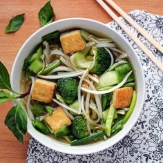 Tofu Pho (Vietnamese Noodle Soup) I order it without the noodles and ask for extra veggies :)