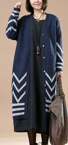 Plus size navy knit cardigans sweater coats long knitwear