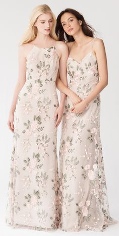 Jenny Yoo Claire Bridesmaid Dress - Looking for modern floral bridesmaid dresses like these beauties from Jenny Yoo? Brideside has all the newest styles from designers like Jenny Yoo, Joanna August, Sorella Vita, Watters and more. Patterned Bridesmaid Dresses, Designer Bridesmaid Dresses, Wedding Bridesmaid Dresses, Designer Dresses, Floral Bridesmaids, Wedding Gowns, Long Floral Dresses, Taupe Bridesmaid, 2017 Wedding