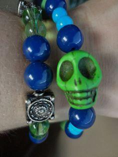 Colors of the Seahawks Skull Bracelet 584778ea8
