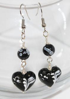 Black with White Heart Earrings by DeborahleedesignsCo on Etsy