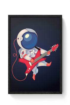 Astronaut Playing Guitar Laminated Framed Poster