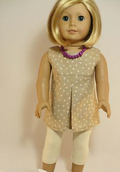 American Girl 18 inch doll outfit - sleeveless tunic, leggings and necklace