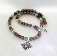 Gemstone Necklace with Pendant.  Picasso Jasper by BlingbyDonna