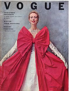 Vogue November 15 1951 Cover featuring Balenciaga's Christmas ball dress