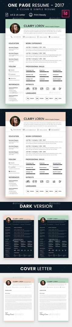 Resume Template InDesign INDD - A4 & US Letter Size