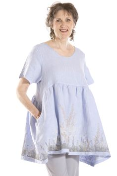 This top in bluebird. Babydoll Linen Top Printed-Blue Fish Clothing, Sky, 1
