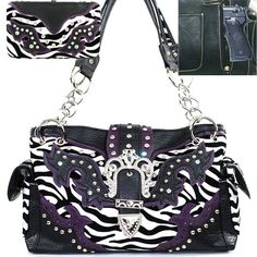 Amazon.com: C Western Concealed Carry / Gun Pocket Rhinestone Studded Tiara Buckle Turn Over Top Animal Print Zebra Handbag Purse with Wallet in Purple: Clothing $51.99