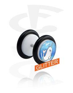 White Glitter Fake Plug (Acrylic) Crazy Factory Piercing Online Shop