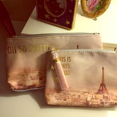 NWT Bag set Super cute, new with tags!  Comes with both bags. Both bags have cute Eiffel Tower charms! Accessories