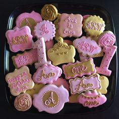 Pink & Gold Cookies #princesscookies #pink&goldcookies #pinkandgoldcookies #pinkandgoldbirthday Please visit my page www.facebook.com/busybeecakery