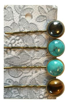 Anthropologie Bobby Pins Set with Cabochon Stones - Hair Accessories - Swanky Bazaar