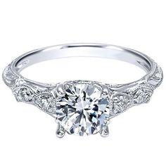 "Ben Garelick 18K White Gold Royal Celebrations ""Hudson"" Milgrain Diamond Engagement Ring Featuring 0.15 Carats Round Cut Diamonds. Style ER10044W83JJ"