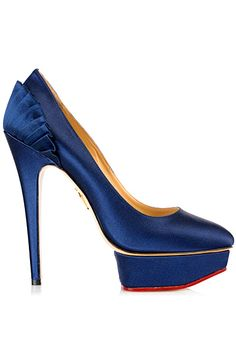 Charlotte Olympia Blue Satin High Heeled Pumps Pre-Fall 2013 #Shoes #Heels