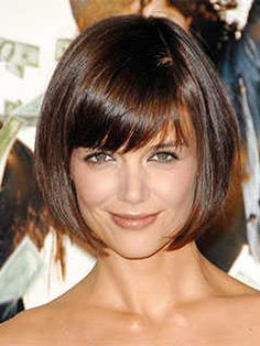 Short Haircuts for Heart Shaped Faces: Bob with Bangs, Katie Holmes