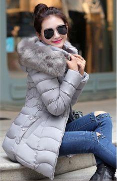 Doudoune longue LEILA, manteau plume femme, veste femme capuche fausse  fourrure, blouson femme cintrée 5e36f3ace2e
