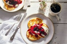 Cottage Cheese Pancakes From Cowgirl Creamery amp; Bette s Oceanview Diner - Breakfast and Brunch - Diner Recipes, Cookbook Recipes, Fruit Recipes, Breakfast Recipes, Cooking Recipes, Pancake Recipes, Quark Recipes, Diner Food, Bisquick Recipes
