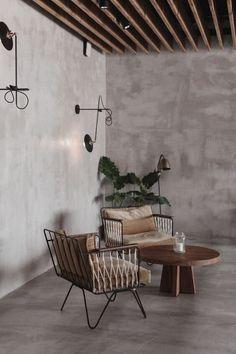 béton ciré blog Deco Cafe Interior Design, Cafe Design, Interior Architecture, House Design, Industrial Interior Design, Home Living Room, Living Spaces, Casa Cook Hotel, My New Room
