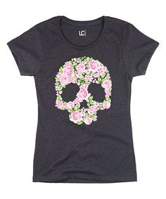 Look what I found on #zulily! Heather Charcoal Floral-Skull Tee by Sharp Wit #zulilyfinds