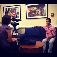 Lynn student, Keith Andrade being interviewed by Channel 5 about his role as a volunteer during the #lynndebate