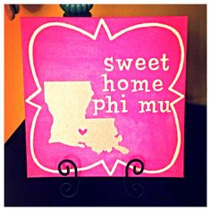 """Except with the palmetto state...and the """"phi"""" and """"mu"""" Greek letters in """"home""""... Phi Mu Canvas, Canvas Canvas, Alpha Sigma Alpha, Sigma Kappa, Kappa Delta, Phi Mu Crafts, Sorority Crafts, College Sorority, Sorority Life"""