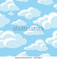 blue sky with clouds, seamless pattern - stock vector