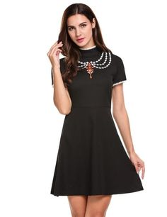 Black Short Sleeve Lace Embroidery Patchwork Dress