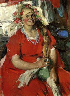 Абрам Ефимович Архипов (1862-1930) - Женщина в красном, 1919