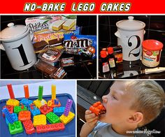 Wish I'd seen this before I attempted a Lego brick cake for my son's birthday LAST April! But he's still way into Legos so maybe we can do these again!