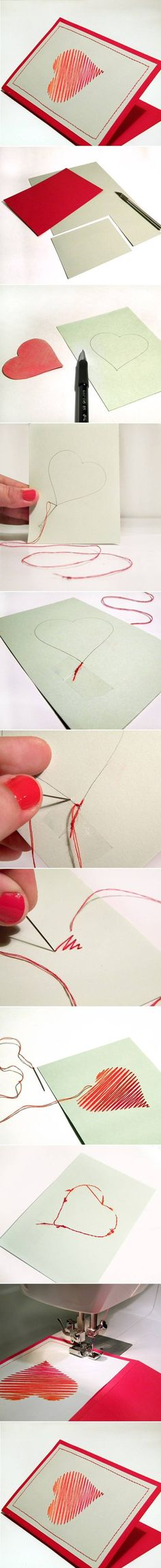 DIY Sew Heart Card DIY Projects | UsefulDIY.com Follow us on Facebook ==> https://www.facebook.com/UsefulDiy