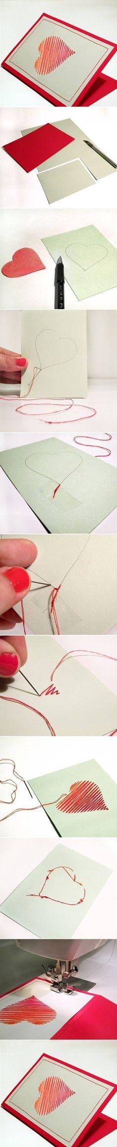DIY Sew Heart Card DIY Projects   UsefulDIY.com Follow us on Facebook ==> https://www.facebook.com/UsefulDiy