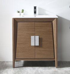 Tennant Brand Larvotto Light Wheat Finish Bathroom Sink Vanity will accent any bathroom. This stri . Furniture Design, Contemporary Bathroom Vanity, Furniture Decor, Bathroom Decor, Modern Furniture, Home Furniture, Home Decor, Bathroom Design, Contemporary Bathroom
