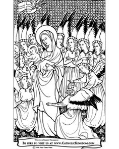 Baby Jesus, Our Lady, and throngs of angels Catholic Coloring Page
