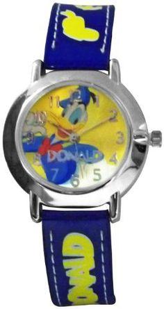 Disney Children's Donald Duck 98221 Blue Leather Quartz Watch with Yellow Dial Disney. $22.55. Quartz Movement. 28mm Case Diameter. Donald Duck Collection. Mineral Crystal. Not Water Resistant Water Resistant. Save 55%!