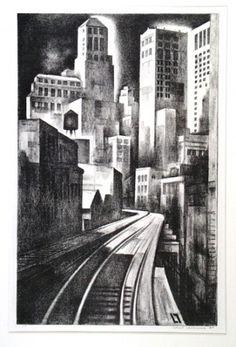 "Louis Lozowick. ""Third Avenue"" I love these period prints."