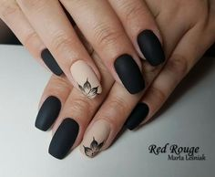 Trendy Matte Black Nails Designs Inspirations - ♀ The Nails ❥ - Nail Matte Black Nails, Black Nail Art, Matte Nail Art, Black Nails Short, Matte Red, Matte Gel Nails, Gold Nail, White Nail, Dark Nails