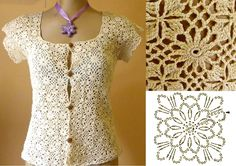 Crochet lace jacket-blouse with cap sleeves ~~ Nilza Souza