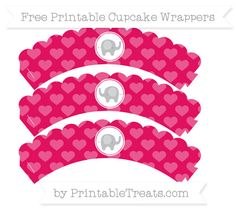 Free Ruby Pink Heart Pattern Baby Elephant Scalloped Cupcake Wrappers