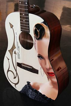 Imelda May - by Brian Tull Grease Outfits, Acoustic Guitar Art, Imelda May, Rockabilly Tattoos, Painted Guitars, Stars Play, Archtop Guitar, Guitar Painting, Vintage Inspired Fashion
