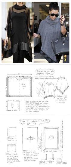 Sewing Clothes Poncho cloak Deniz - Visite o post para mais. Diy Clothing, Clothing Patterns, Dress Patterns, Sewing Patterns, Fashion Sewing, Diy Fashion, Ideias Fashion, Sewing Dress, Sewing Clothes
